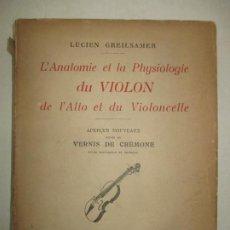 Libros antiguos: L'ANATOMIE ET LA PHYSIOLOGIE DU VIOLON DE L'ALTO ET DU VIOLONCELLE. GREILSAMER, LUCIEN. 1924.. Lote 191195552