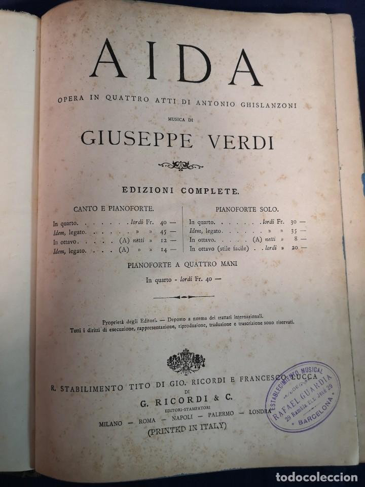 Libros antiguos: AIDA.G.VERDI, OPERA COMPLETA PER CANTO E PIANOFORTE.EDIZIONI RICORDI - Foto 2 - 200290376