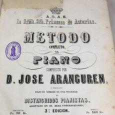 Libros antiguos: METODO COMPLETO DE PIANO COMPUESTO POR JOSÉ ARANGUREN CIRCA 1860. COMPLETO CON RESTAURACIONES.. Lote 202078223
