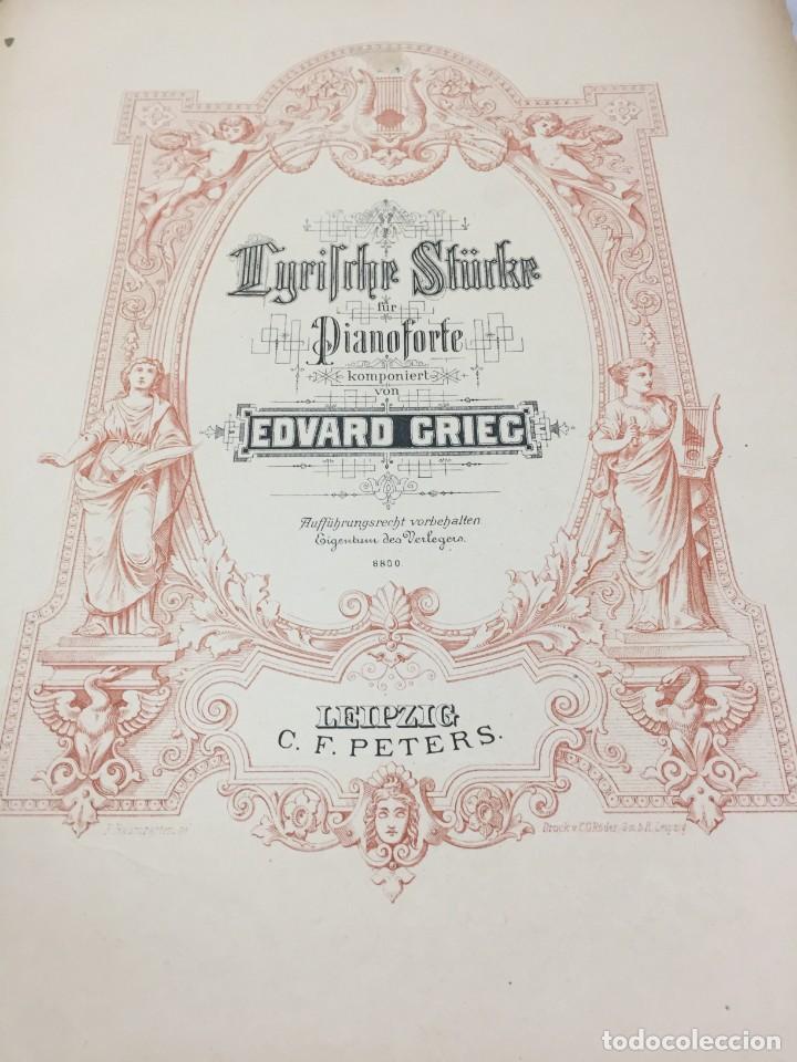 Libros antiguos: Partitura Edvard Grieg, Piezas Líricas para pianoforte. Peters Leipzig finales siglo XIX - Foto 2 - 203106673