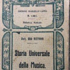 Libros antiguos: STORIA UNIVERSALE DELLA MUSICA. RIEMANN UGO. EDITORE: S.T.E.N., TORINO, 1927. Lote 205453562