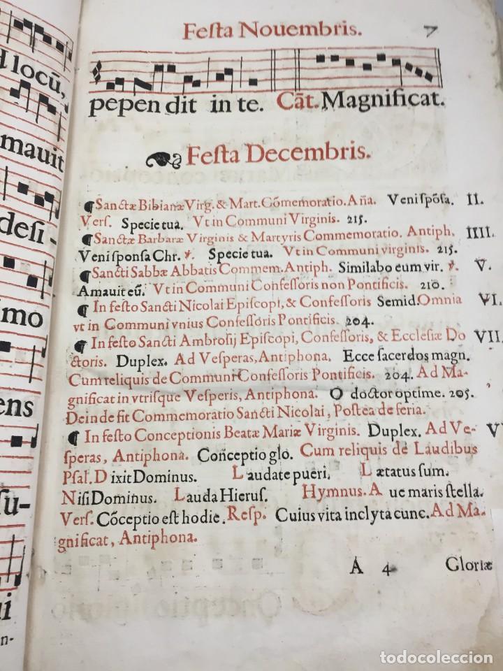 Libros antiguos: Antifonario español siglo XVI portadas madera y piel 1596 mas de 300 páginas daños de uso - Foto 17 - 210080728