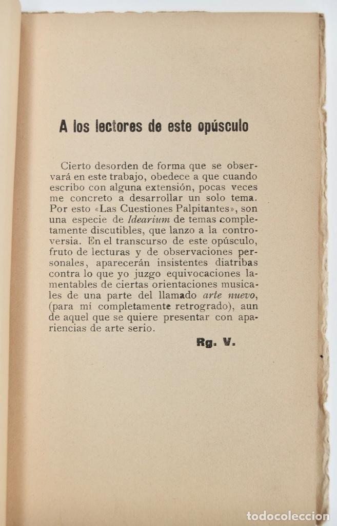 Libros antiguos: Rogelio Villar. De Música, Cuestiones Palpitantes. Opúsculo. Madrid, Ricardo Rodriguez Editor. 1917 - Foto 3 - 212846608