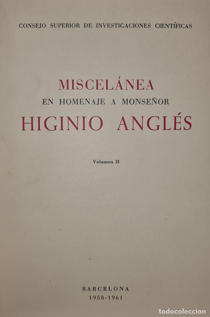 MISCELANEA A MONSEÑOR HIGINIO ANGLES. CSIC. 2 VOL. 1958-1961. (Libros Antiguos, Raros y Curiosos - Bellas artes, ocio y coleccion - Música)