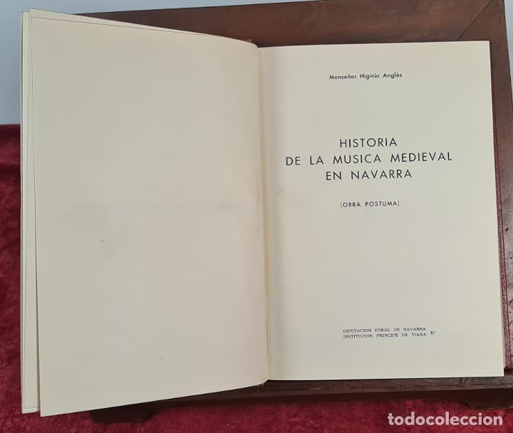 LA MUSICA MEDIEVAL EN NAVARRA. HIGINIO ANGLES. DIPUTACION DE NAVARRA. 1970. (Libros Antiguos, Raros y Curiosos - Bellas artes, ocio y coleccion - Música)