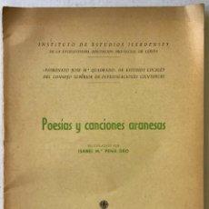 Libros antiguos: POESÍAS Y CANCIONES ARANESAS. - PEMA DEO, ISABEL MARÍA.. Lote 123228154
