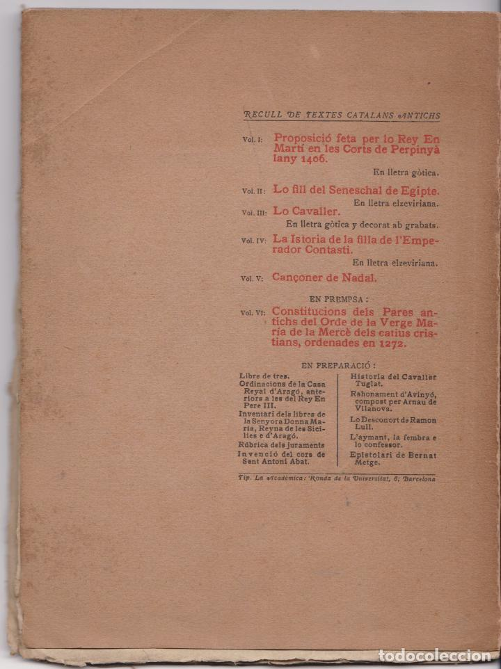 Libros antiguos: CANÇONER DE NADAL - RECULL DE TEXTES CATALANS ANTICS – VOLUM V – 1905 - Foto 3 - 217062815