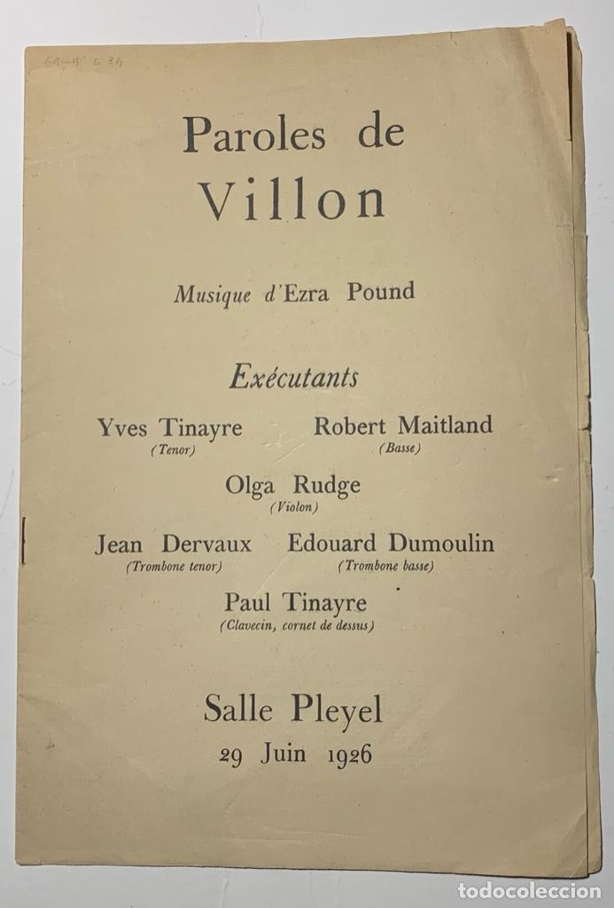 EZRA POUND. PAROLES DE VILLON. MUSIQUE D'EZRA POUND (Libros Antiguos, Raros y Curiosos - Bellas artes, ocio y coleccion - Música)