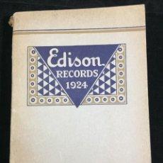Libros antiguos: EDISON RECORDS 1924 CATÁLOGO FONÓGRAFO DE MANIVELA ART DECO. MUY RARO. Lote 220967281
