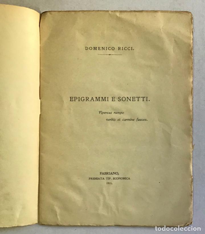 Libros antiguos: EPIGRAMMI E SONETTI. - RICCI, Domenico. PRIMERA EDICIÓN - DEDICADO - Foto 3 - 123237139