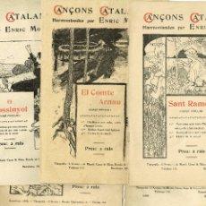 Libros antiguos: LOT CINC PARTITURES CANÇONS CATALANES ENRIC MORERA TIP. L'AVENÇ 1897 IL-LUSTRA RUSIÑOL RIQUER. Lote 234933050