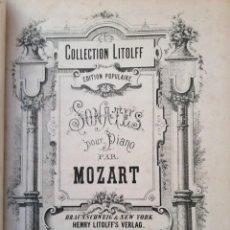Libros antiguos: COLLECTION LITOLFF, EDITION POPULAIRE. SONATES POUR PIANO PAR MOZART, 188?. MUY ESCASO. Lote 235651260