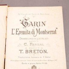 Livres anciens: GARIN L'EREMITA DI MONTSERRAT - TOMÁS BRETÓN - C. 1920. Lote 276175038