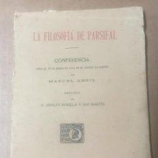 Libros antiguos: MANUEL ABRIL, LA FILOSOFÍA DE PARSIFAL. ASOCIACIÓN WAGNERIANA DE MADRID, 1914. WAGNER. Lote 277267298