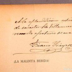 Libros antiguos: ZARZUELA - ¡ LA MALDITA BEBIDA ! , FIACRO YRÁYZOZ - DEDICATORIA AUTÓGRAFA DEL AUTOR. Lote 277492098