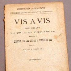 Libros antiguos: VIS A VIS - DIONISIO DE LAS HERAS Y FERNANDO BEL - DEDICATORIA AUTÓGRAFA DE DE LAS HERAS. Lote 277493633