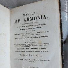 Libros antiguos: MANUAL DE ARMONÍA DE ACOMPAÑAMIENTO DE BAJO NUMERADO DE 1845. Lote 285239783