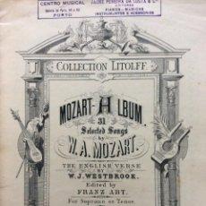 Libros antiguos: COLLECTION LITOLFF N.º 267, MOZART ALBUM. 31 SELECTED SONGS. FINALES DEL SIGLO XIX. MUY RARO. Lote 285329723