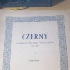 Libros antiguos: CZERNY. ESTUDIOS DE GRAN VELOCIDAD. OP 299 299-1º UNION MUSICAL ESPAÑOLA. PARTITURA BUEN ESTADO. Lote 294959648