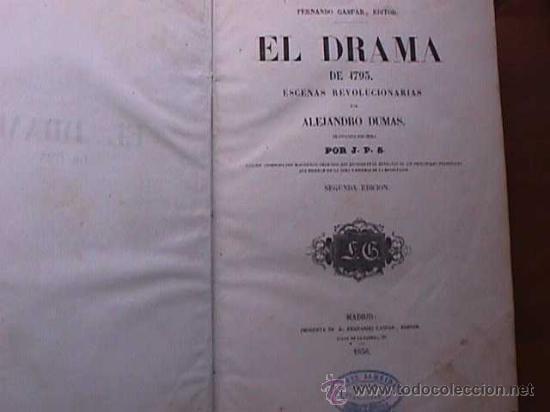 Libros antiguos: El drama de 1793, Alejandro Dumas, Fernando Gaspar Editor, 1856 - Foto 2 - 19377769