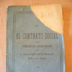 Libros antiguos: EL CONTRATO SOCIAL.TIP. MANERO. BARCELONA, 1868.. Lote 26364028