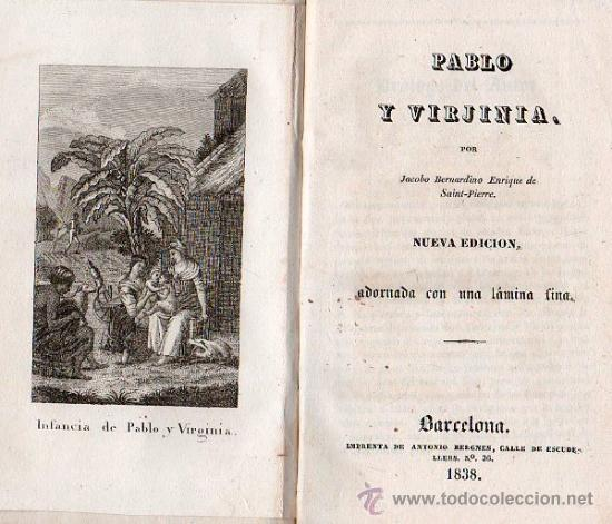 PABLO Y VIRGINIA BARCELONA 1838 (Libros antiguos (hasta 1936), raros y curiosos - Literatura - Narrativa - Novela Histórica)