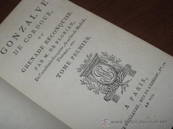 Libros antiguos: Gonzalve de Cordoue (Vol.I), Florian, 1798. Contiene cuatro grabados. - Foto 7 - 30244059
