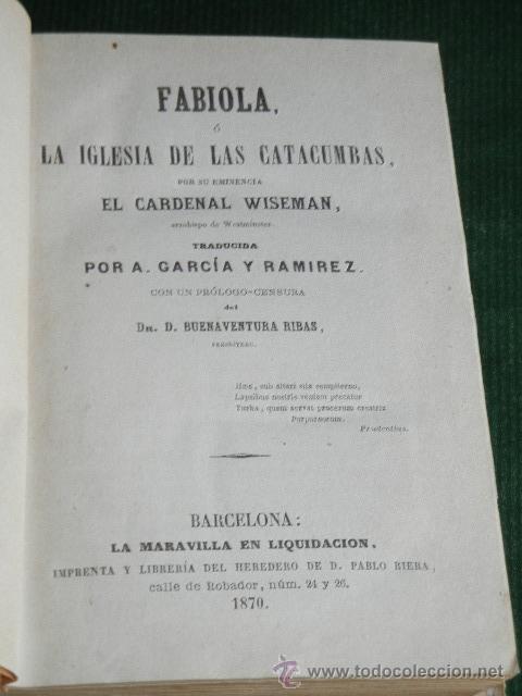 Libros antiguos: FABIOLA - CARDENAL WISEMAN, - 1870 - Foto 2 - 30575406