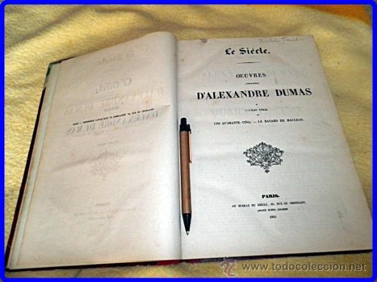 Libros antiguos: AÑO 1851. ALEJANDRO DUMAS. ELEGANTE VOLÚMEN DE 32 CM. DE ALTO. - Foto 2 - 35372960