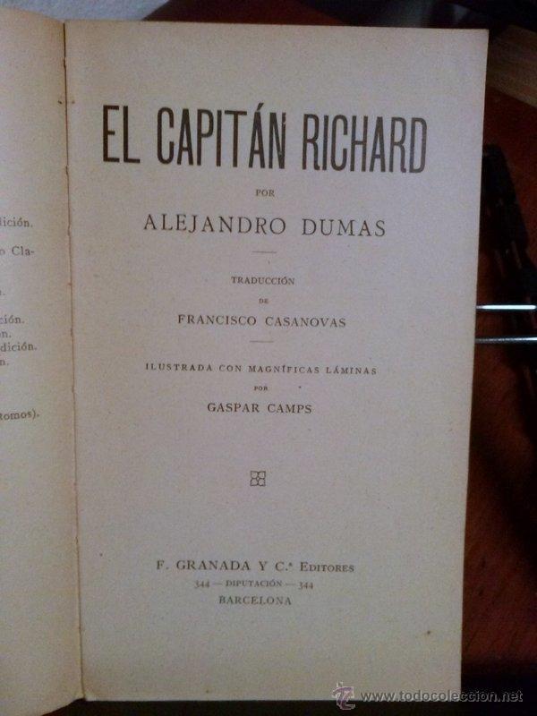 Libros antiguos: ALEJANDRO DUMAS. EL CAPITÁN RICHARD. 1908 - Foto 2 - 39922916