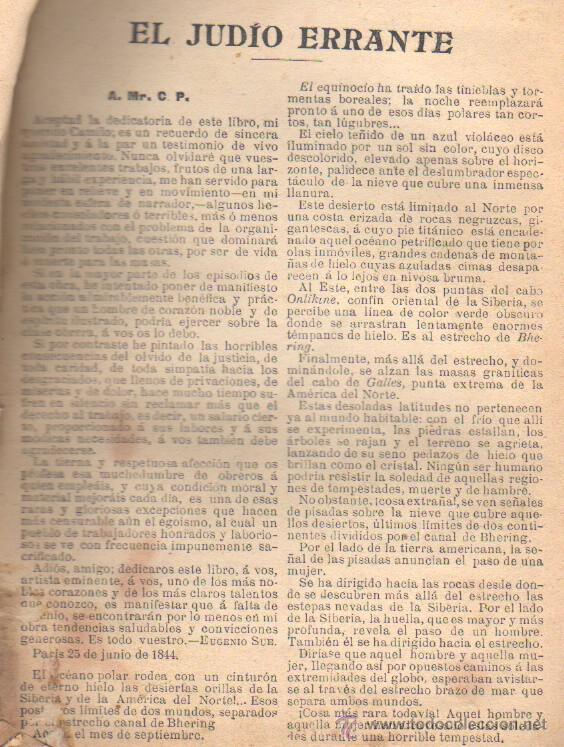 Libros antiguos: libro el judio errante eguenio sue- regalo de el liberal de bilbao -editoria sopena - Foto 2 - 21934470