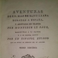 Libros antiguos: AVENTURAS DE GIL BLAS DE SANTILLANA TOMO III PRIMERA EDICION VALENCIA 1789. Lote 49720170