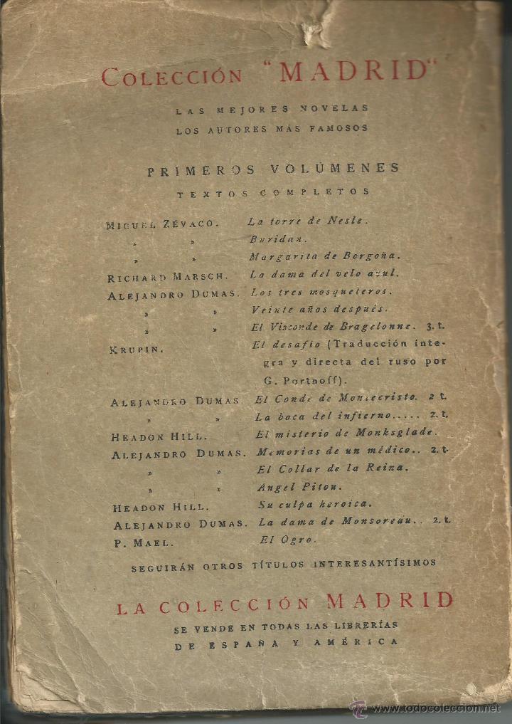 Libros antiguos: LOS TRES MOSQUETEROS ALEJANDRO DUMAS. EDITORIAL CALLEJA . TAPAS BARTOLUZZI. MADRID 1920 - Foto 2 - 53839324