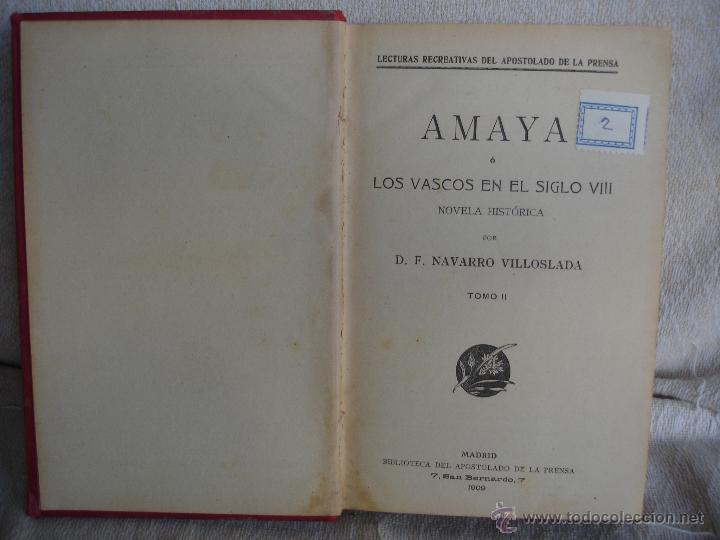 Libros antiguos: Amaya o los vascos en el siglo VIII - Foto 2 - 54498539