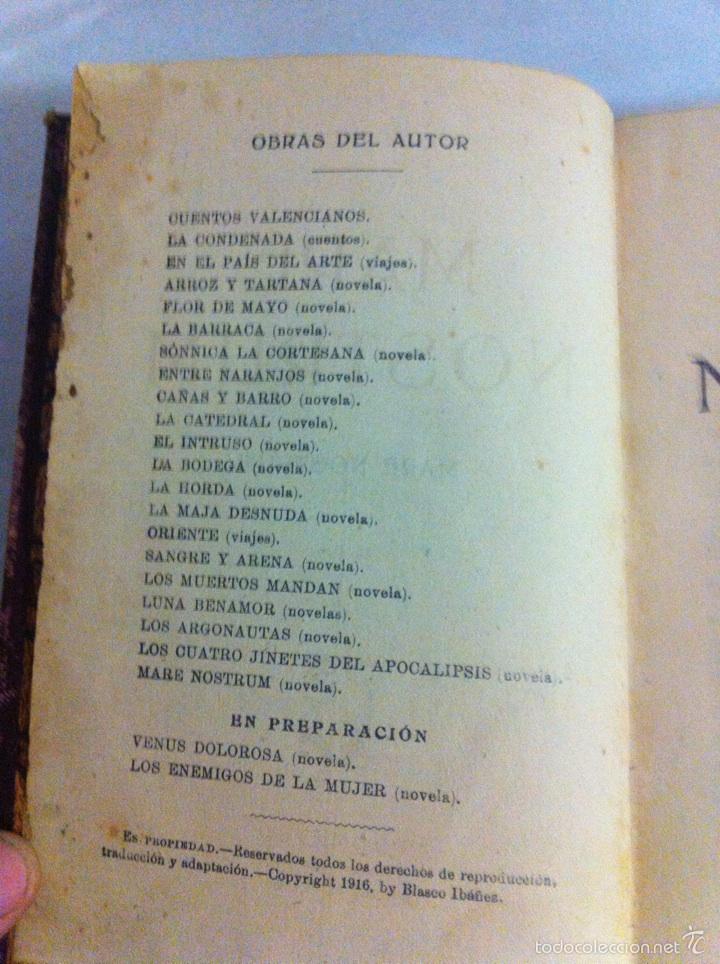 Libros antiguos: Antigua novela Blasco Ibáñez MARE NOSTRUM 1916 - Foto 8 - 56657502