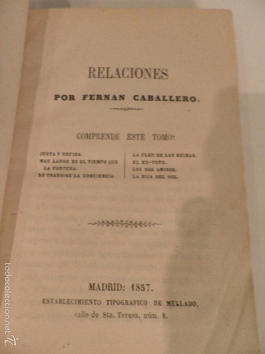 RELACIONES. (NOVELAS CORTAS) DE FERNÁN CABALLERO, AÑO DE 1857 (Libros antiguos (hasta 1936), raros y curiosos - Literatura - Narrativa - Novela Histórica)