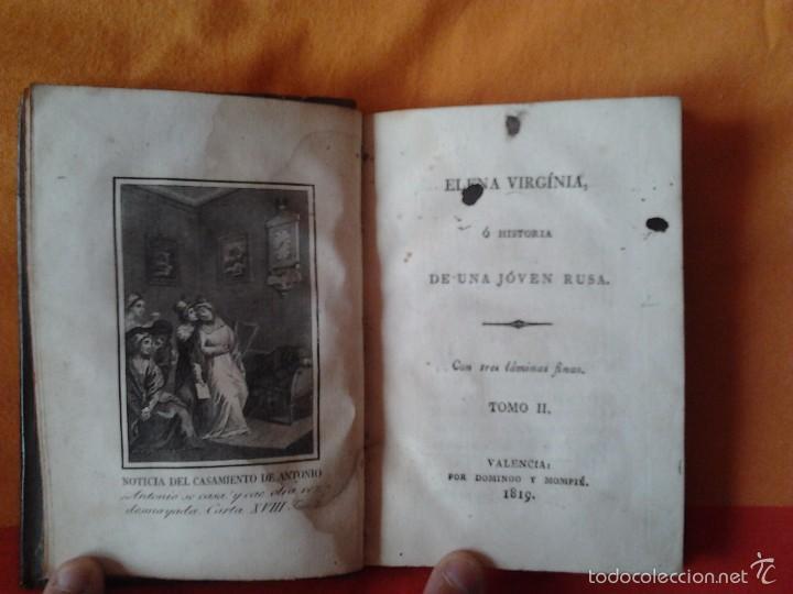 Libros antiguos: ELENA VIRGINIA O HISTORIA DE UNA JOVEN RUSA. ANONIMO (3 TOMOS) VALENCIA, DOMINGO Y MOMPIE, 1819 - Foto 7 - 56955122