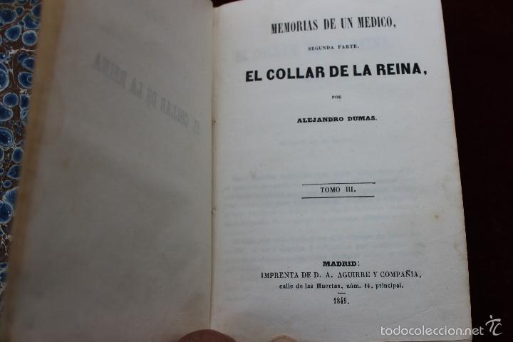 Libros antiguos: EL COLLAR DE LA REINA, POR ALEJANDRO DUMAS, TOMOS III Y IV, 1849, MADRID - Foto 4 - 57716201