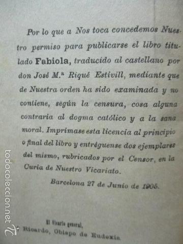 Libros antiguos: CARDENAL WISEMAN - FABIOLA - Foto 5 - 58320182