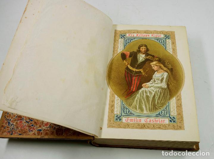Libros antiguos: FRA FILIPPO LIPPI, NOVELA. EMILIO CASTELAR, 2ªed, 1879. 21x29 cm. - Foto 5 - 69254649