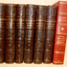 Libros antiguos: HISTORIA CRÍTICA DE LA LITERATURA ESPAÑOLA. 7 VOLS. JOSÉ AMADOR DE LOS RÍOS(1861-65)TOMO I REENCUAD. Lote 83168452