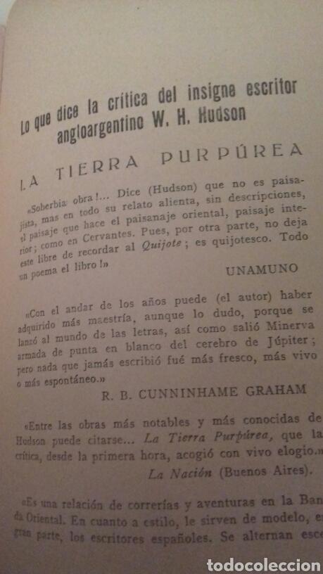 Libros antiguos: LA TIERRA PURPUREA Un idilio uruguayo W H Hudson 1928 PRIMERA EDICION EN CASTELLANO - Foto 7 - 85266880