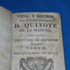 Libros antiguos: (MF) MIGUEL DE CERVANTES - VIDA Y HECHOS DEL INGENIOSO CAVALLERO D QUIXOTE DE LA MANCHA ( QUIJOTE ) . Lote 99674147