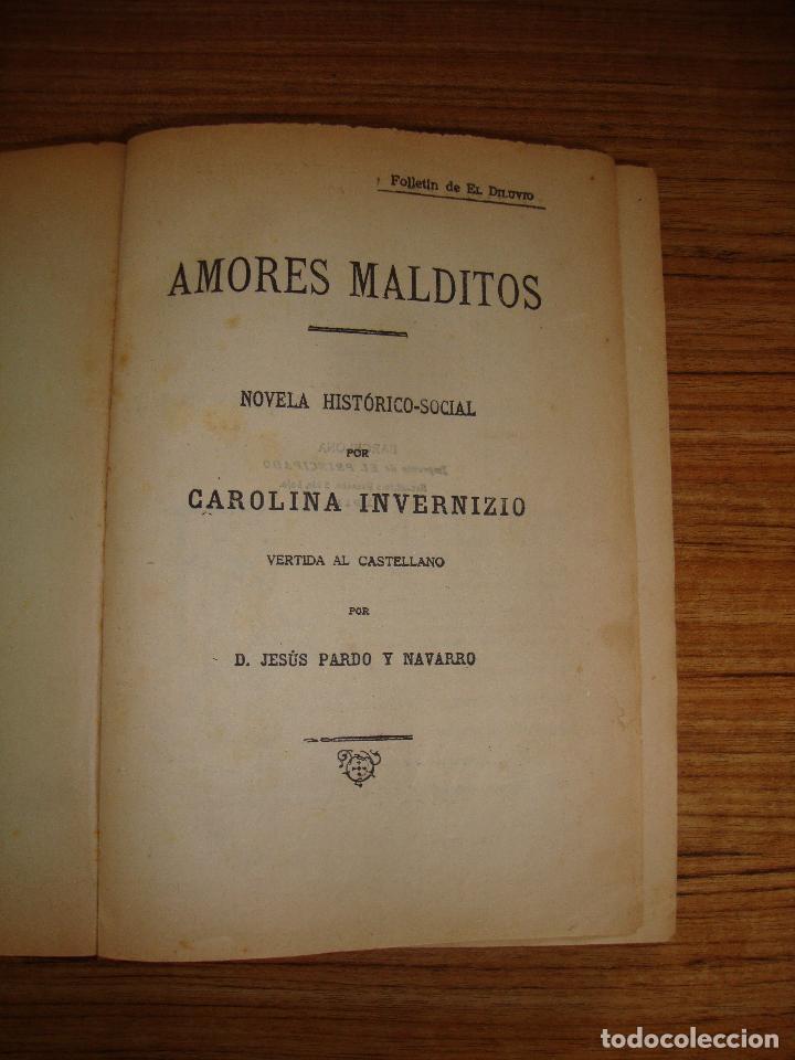 (TC-47) AMORES MALDITOS CAROLINA INVERNIZIO VERTIDA CASTELLANO JESUS PARDO CON EX LIBRIS 1911 (Libros antiguos (hasta 1936), raros y curiosos - Literatura - Narrativa - Novela Histórica)