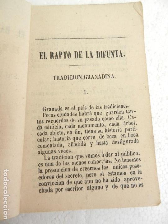 EL RAPTO DE LA DIFUNTA TRADICIÓN GRANADINA POR SALVADOR PEREZ Y AUGUSTO JEREZ GRANADA AÑO 1868. (Libros antiguos (hasta 1936), raros y curiosos - Literatura - Narrativa - Novela Histórica)
