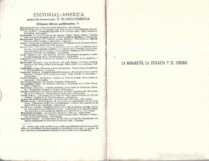 Libros antiguos: LA MONARQUIA, LA PRIVANZA Y EL INGENIO. DIEGO SAN JOSE. EDITORIAL- AMERICA. 1922. - Foto 3 - 192858240