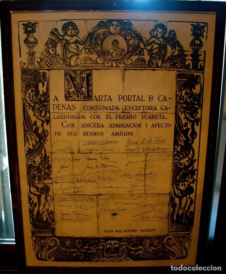 Libros antiguos: MIL FOTOS, DOCUMENTOS, CUADRO CON 50 FIRMAS. ARCHIVO MARTA PORTAL. PREMIO PLANETA 1966. EXCEPCIONAL - Foto 2 - 116459547