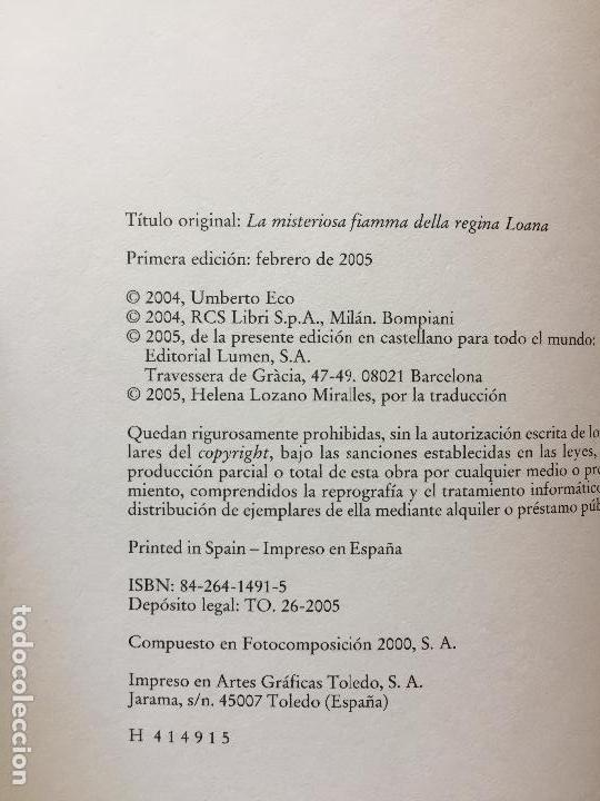 Libros antiguos: LA MISTERIOSA LLAMA DE LA REINA LOANA, PRIMERA EDICION - Foto 2 - 120733491