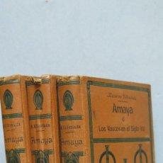 Libros antiguos: 1914.- AMAYA O LOS VASCOS EN EL SIGLO VIII. D. F. NAVARRO VILLOSLADA. 3 TOMOS. Lote 125085111