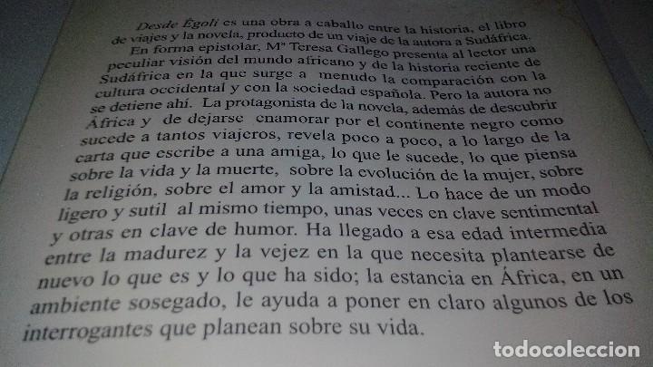 Libros antiguos: DESDE EGOLI- Gallego Martínez, María Teresa - Foto 3 - 128679319